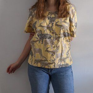 1980's Animal Print Button-Up Blouse